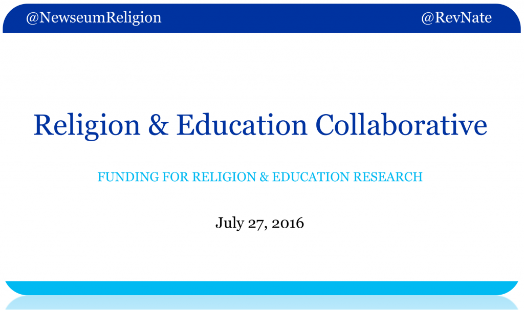 2016-07-27 REC Funding for Religion and Education Research